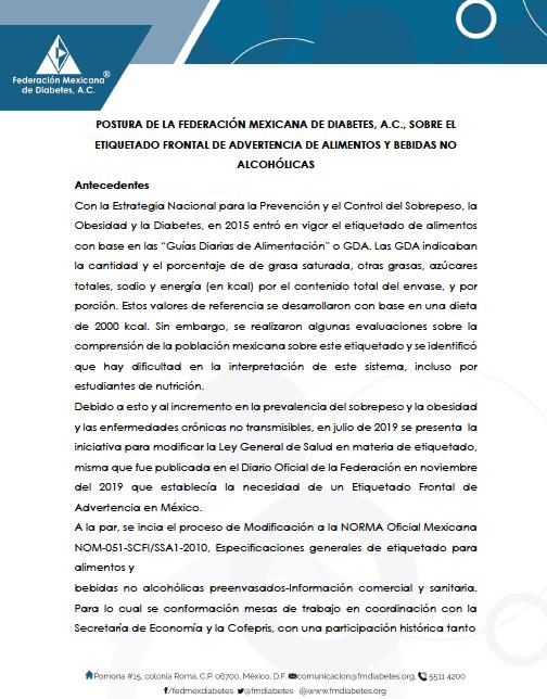 POSTURA DE LA FEDERACIÓN MEXICANA DE DIABETES, A.C., SOBRE EL ETIQUETADO FRONTAL DE ADVERTENCIA DE ALIMENTOS Y BEBIDAS NO ALCOHÓLICAS