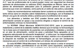 Postura de la Federación Mexicana de Diabetes, A.C. sobre edulcorantes no calóricos